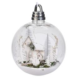Kerstbal met winters tafereel groot (sneeuwman)